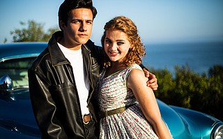 Ben Zevallos and Tessa Miller play Danny Zuko and Sandy Dumbrowski in <em>Grease</em>, presented by The Theatre Group at the Garvin Theatre stage at Santa Barbara City College