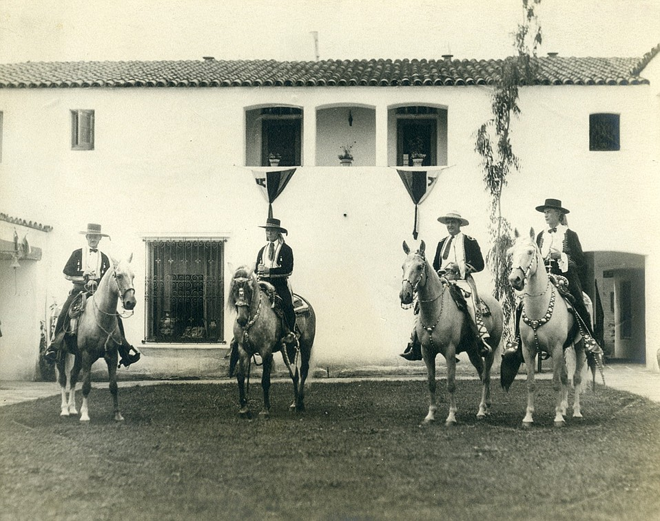 From left: James Rickard, Dwight Murphy, Francis Price, and T. Wilson Dibblee, founding fathers of the first Fiesta parade in 1924, at El Paseo courtyard