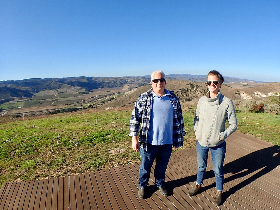 Ofer Shepher and Kat Gaffney stand atop Spear Vineyards & Winery, which straddles the two main corridors of the Sta. Rita Hills.