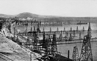 Soon after it was dedicated to the promulgation of Spiritualism, Summerland became the site of another kind of magic: the world's first offshore oil drilling operation. This image shows what the beach there looked like  at the end of the 19th century.