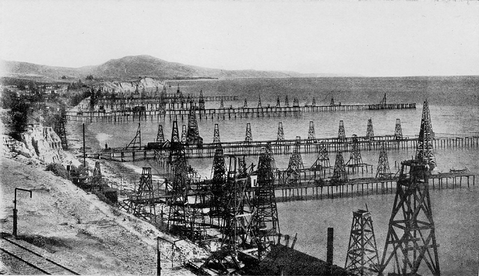 Soon after it was dedicated to the promulgation of Spiritualism, Summerland became the site of another kind of magic: the world's first offshore oil drilling operation. This image shows what the beach there looked like 