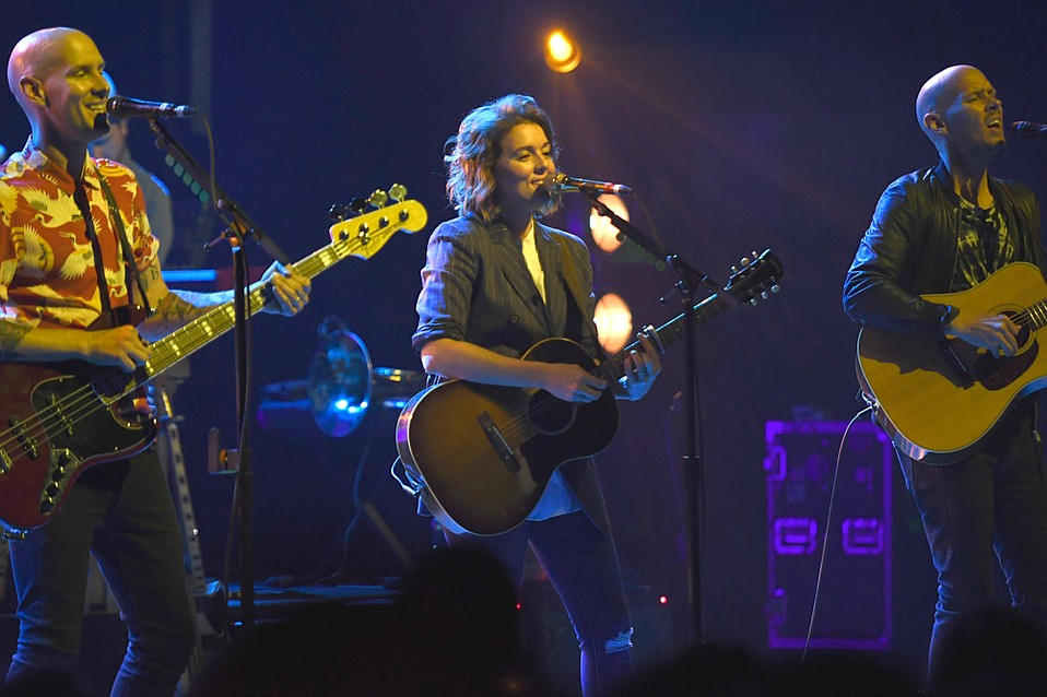 Brandi Carlile flanked by (from left) Phil and Tim Hanseroth