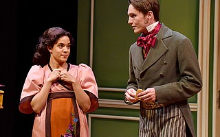 Grace Theobald is the young mathematical genius Thomasina Coverly and Luke Myers is her tutor, Septimus Hodge, in PCPA's production of Tom Stoppard's <em>Arcadia</em>.