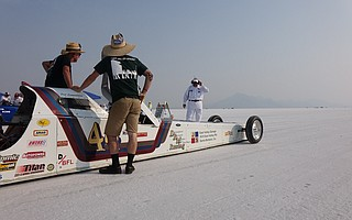 The S.B. team stands at the start of the five-mile course.