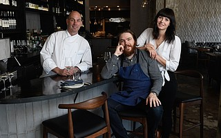 Chef David Rosner (left) is running day-to-day operations for owners Phillip Frankland Lee and Margarita Kallas-Lee at The Monarch in the Montecito Inn.
