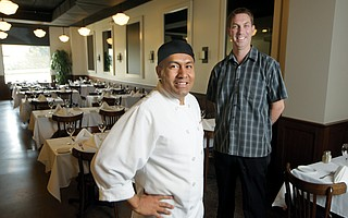 Filipe Garcia (center) and General Manager Danny Chisholm at Ca' Dario Cucina Italiana in Goleta.