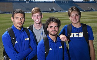 That's French for teammates, a bond shared by UCSB soccer players (from left) Faouzi Taieb, Carter Clemmensen, 