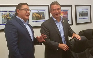 Representatives Salud Carbajal (left) and Don Bacon at Santa Barbara County Fire headquarters last week