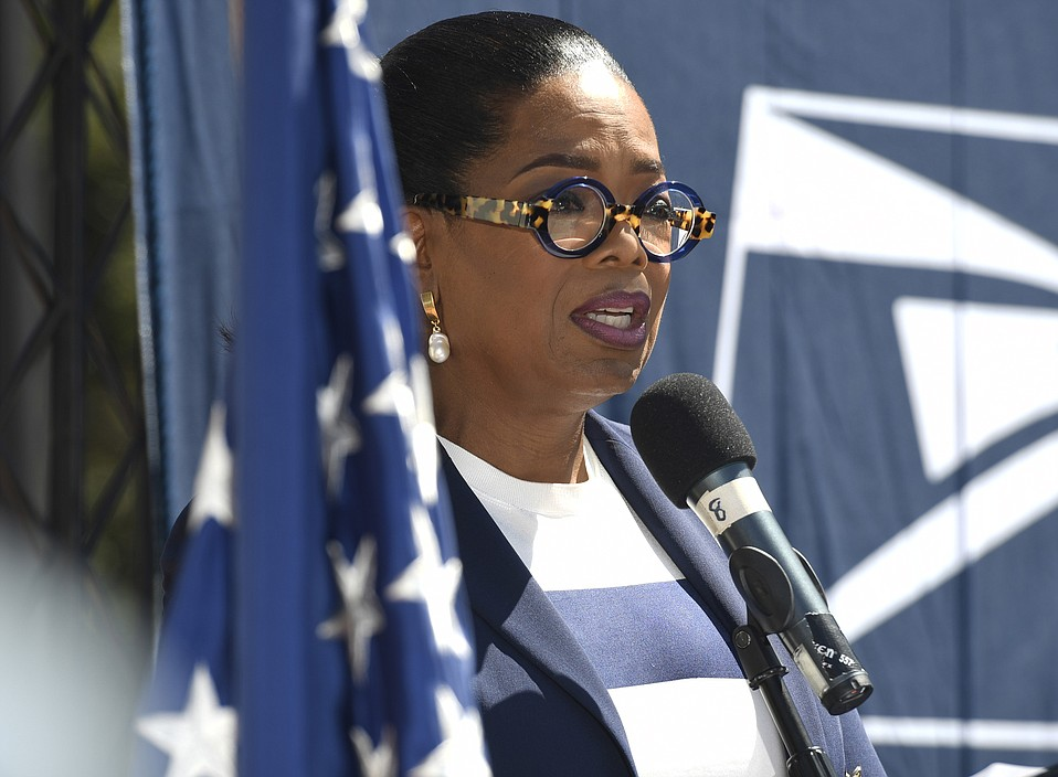 Keynote speaker Oprah Winfrey at a commemorative Forever Stamp dedication honoring first responders at Montecito Fire Department Station One. (Sept. 14, 2018)