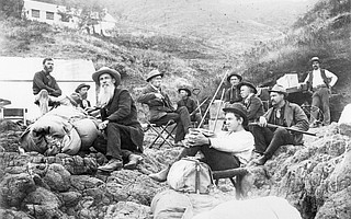 In 1889, members of the Santa Barbara Natural History Society chartered Ezekiel Elliott's sloop Brisk for a 10-day cruise to Anacapa Island. The party included photographer Isaac Newton Cook (long beard), naturalist Lorenzo Yates (third from right), and artist Henry Chapman Ford (center, sitting in a chair).