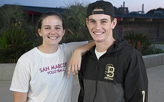 Frankie Gamberdella will be quarterbacking the Santa Barbara Dons on Friday night against San Marcos High, where his sister Ellie is a volleyball star.