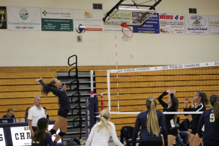 Portia Sherman goes up for the spike in the third set against Cabrillo.