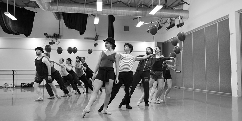 Dancers from State Street Ballet rehearse for Chaplin.