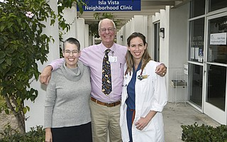L to R Behavioral Health Specialist Max Rorty, Dr. Charles Fenzi, and Physicians Assistant Sofia DeVaney at the Isla Vista Neighborhood Clinic Sept. 25, 2018.