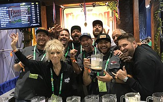 The crew behind Figueroa Mountain Brewing celebrates their GABF win.