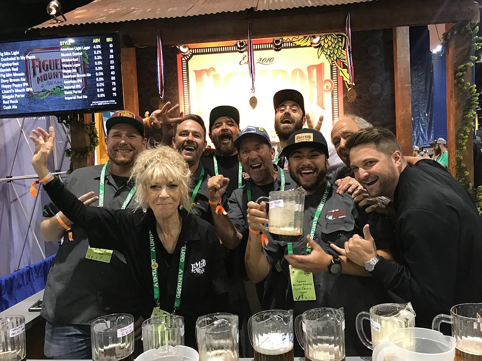 The crew behind Figueroa Mountain Brewing celebrates their GABF win.