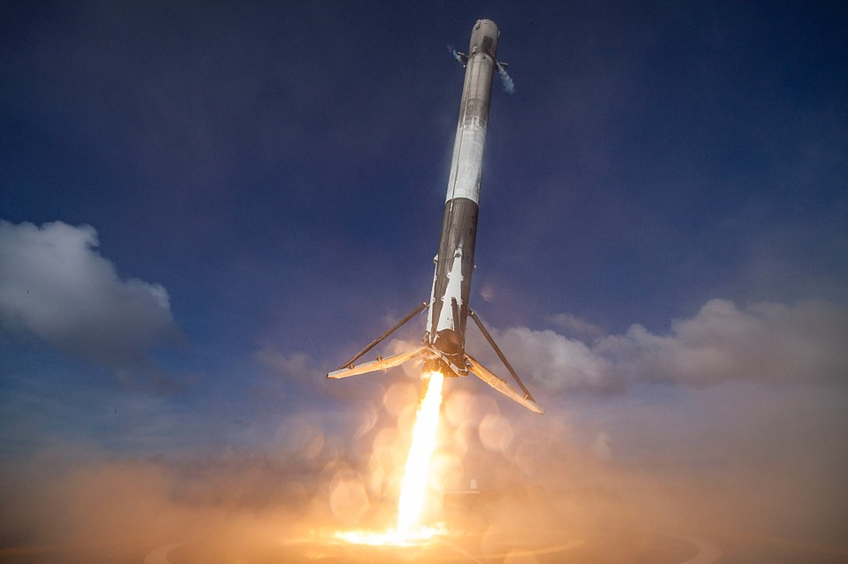 A SpaceX rocket lands at Cape Canaveral.