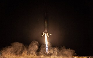 'Falcon has landed,' SpaceX CEO Elon Musk tweeted along with this photo Sunday evening.