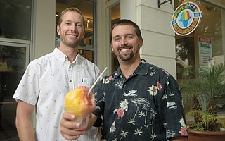 ParadICE owners Marek Nold (left) and Lee Jacobs are serving up real-deal Hawaiian shave ice