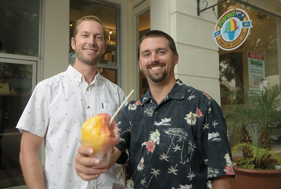 ParadICE owners Marek Nold (left) and Lee Jacobs are serving up real-deal Hawaiian shave ice  in Paseo Nuevo.