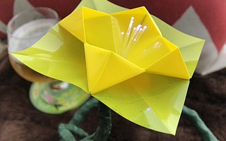 This origami flower's LED-lit center will illuminate in tune with the viewer's heartbeat during <em>Biergnette</em> at SBCAST on November 1.