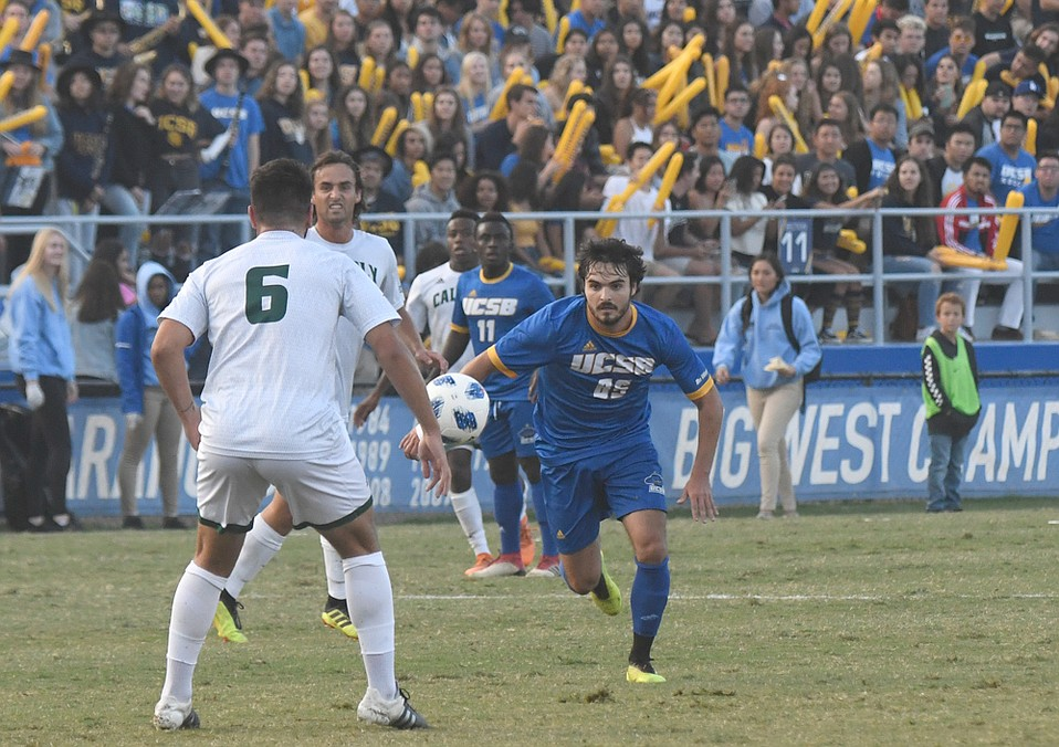 UCSB's Thibault Candia (85, right) was named Big West offensive player of the week for assisting on two goals against Cal Poly. Though the Gaucho men's team still needs to win quite a few games to reach the College Cup at Harder Stadium this December, the UCSB women's team is headed into its first playoffs since 2015, led by top goal-scorers Shaelan Murison and Madeline Gibson.