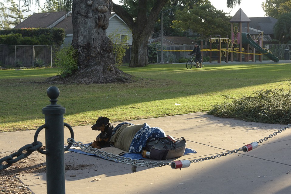 A recent court decision protects people sleeping in public, like this man and his dog in Plaza de Vera Cruz.