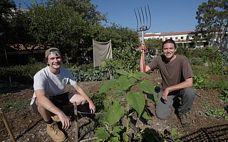 Jackson Hayes (right) and intern Joey Slade tend to SBCC's permaculture gardens, which are outdoor classrooms for environmental and horticultural students.