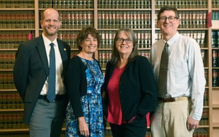 From left, The Santa Barbara and Ventura Colleges of Law's Matt Nehmer, Jackie Gardina, Deb Moritz, and Paul Larsen were integral in creating the Hack-the-JD event.