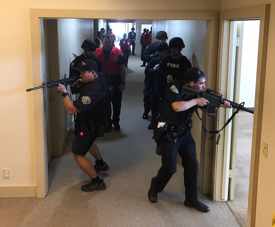 Police recently participated in a joint training exercise at the Santa Barbara Airport during which an active shooter situation was simulated.