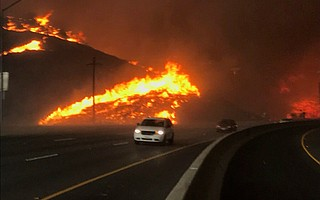 Highway 101 closed under the threat of the Hill Fire on Thursday afternoon, which was headed from Santa Rosa Road near Moorpark to the Pacific Ocean.