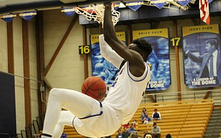Robinson Idehen flushes a powerful dunk.