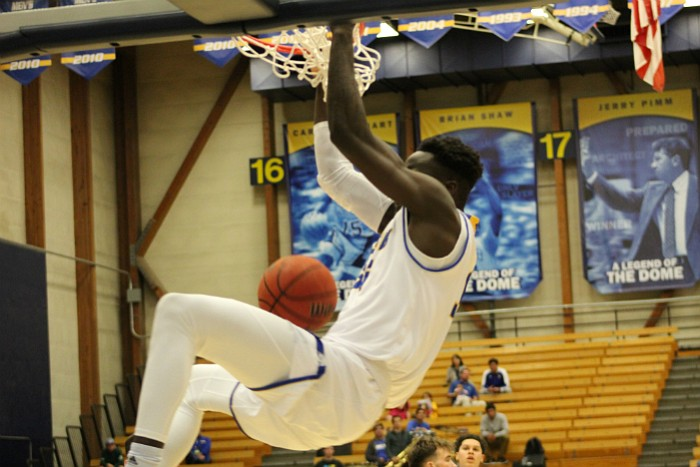 Robinson Idehen flushes a powerful dunk.