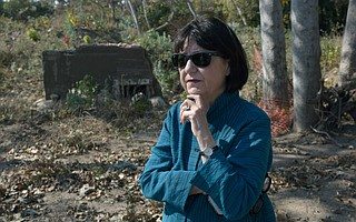 "Victoria Riskin (pictured), who lost her home at 680 Randall Road on January 9, said she and her neighbors believe that selling their land for a debris basin is ""the right thing to do."""