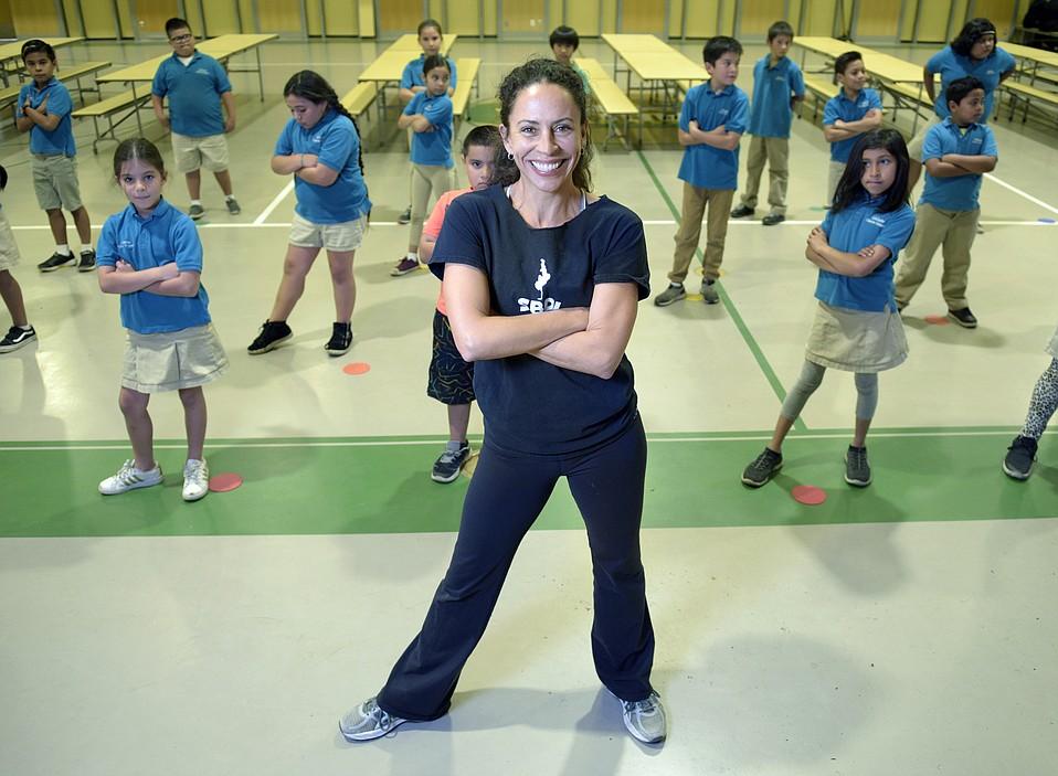 Rosalina Macisco of Santa Barbara Dance Institute with a class in the Franklin auditorium (Nov. 14, 2018)
