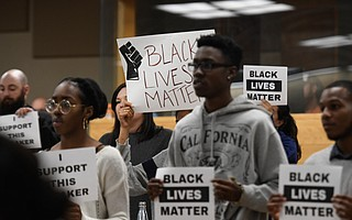 Students gathered Monday night at an SBCC board meeting to call for the resignation of Lyndsay Maas and speak out about racial tensions on campus.