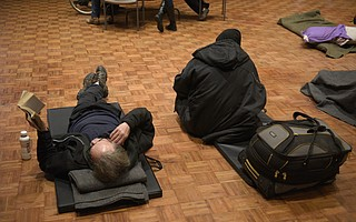 Mats laid out on the floor for guests of the Freedom Warming Center setup at the Santa Barbara First Presbyterian Church Wednesday night. (Nov. 28, 2018)