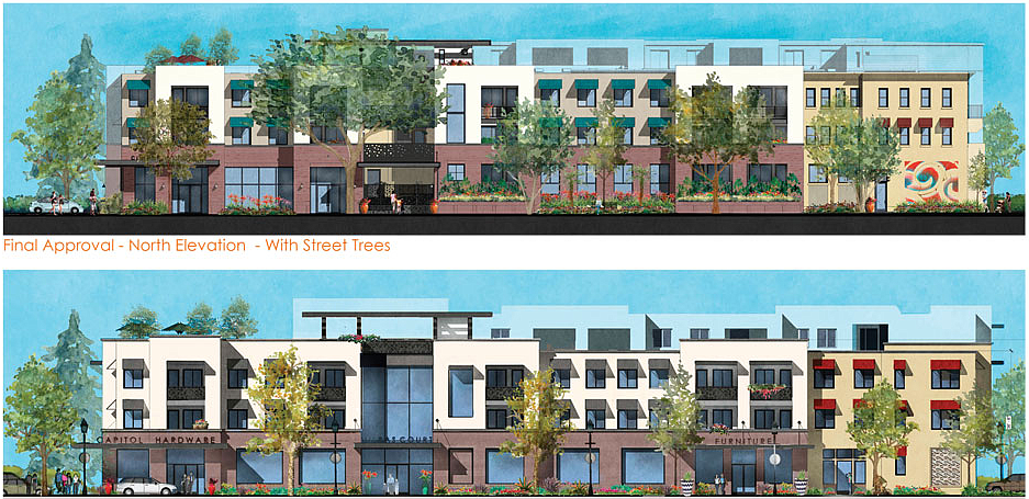 North and south views of the proposed project