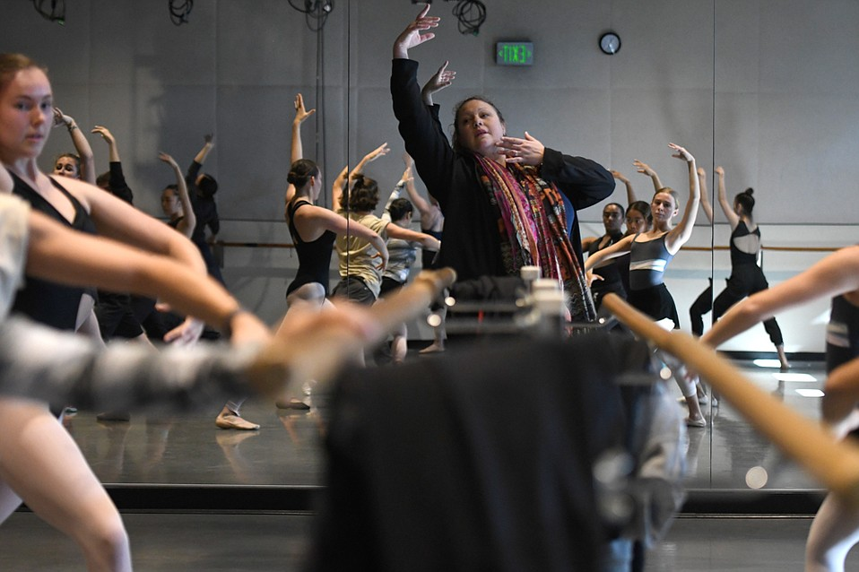 """Born in Los Angeles to a Cuban mother and an Ecuadorian father, Monique Meunier (center) was hired by UCSB as assistant professor of ballet last autumn. """"My teaching approach centers on bringing awareness to the value of diversity,"""" she said. """"How to cultivate it, nurture it, and celebrate it."""""""