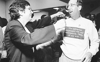 Jerry Beaver and his wife, Helene, celebrate an election-night victory many moons ago.