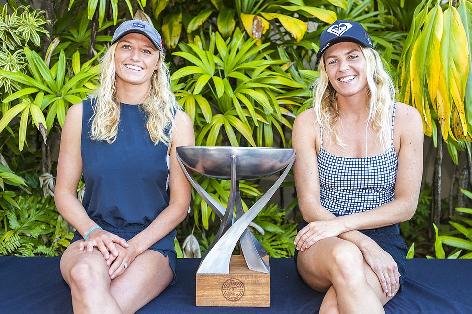 Runner-up Lakey Peterson (left), with 2018 world champ Stephanie Gilmore, in Maui.
