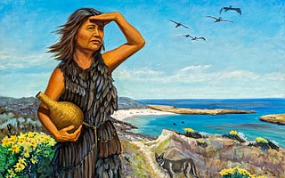 """Portrait of The Lone Woman of San Nicolas Island"" by artist Holli Harmon is on display in Chumash Hall at the Santa Barbara Museum of Natural History."