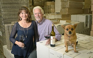 David and Linda Chesterfield, seen here in their Goleta warehouse with their dog Peaches, started the Gold Medal Wine Club in 1992 and are now one of the most popular clubs in the world.