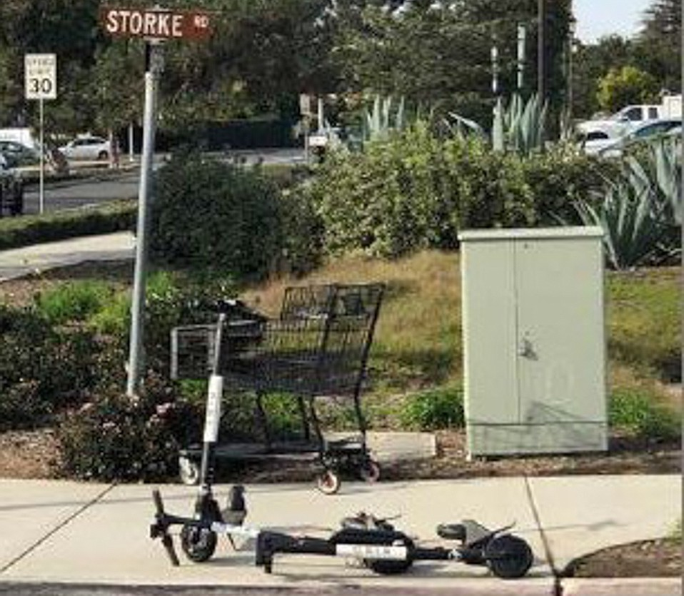 """Before Goleta's emergency ban on motorized scooters, street corners like this offered the """"shared-mobility devices"""" for rent."""
