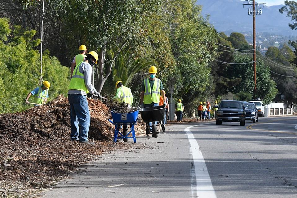 Road crews work along Jameson Road in Montecito
