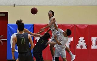 Beau Allen blocks a St. Bonaventure shot attempt.