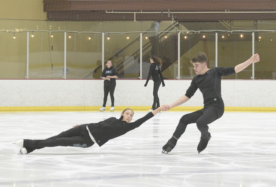 Pictured here practicing at Goleta's Ice in Paradise, San Marcos High's Sam Alen and S.B. Junior High's Sage Kerst will be among 12 couples competing in the intermediate pairs division of the 2019 U.S. Figure Skating Championships on Saturday, January 19.