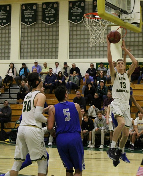 Aiden Douglas goes up for a layup.