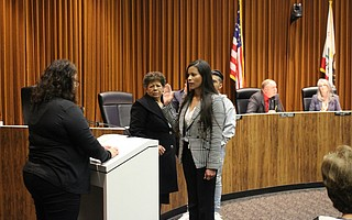 New Lompoc Councilmember Gilda Cordova takes the oath after receiving a unanimous vote of appointment.
