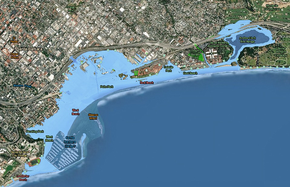 Officials say if nothing is done to reduce the world's carbon emissions, this is how the South Coast would look by the year 2100. The models show how far inland the ocean would wash during annual storms if the overall sea level rose by 6.6 feet.